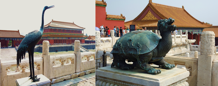 statues at the forbidden city in Beijing