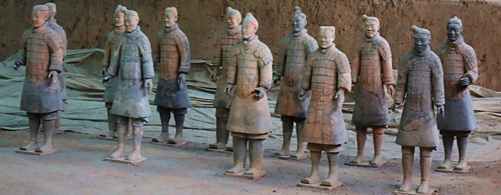 group of terracotta warriors at the museum