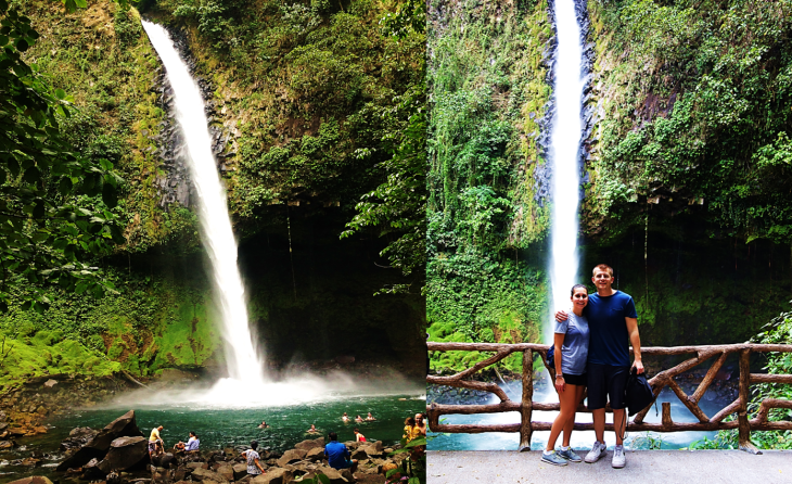 us in front of the La Fortuna Waterfall