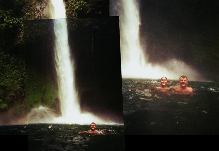 us swimming at la fortuna waterfall costa rica