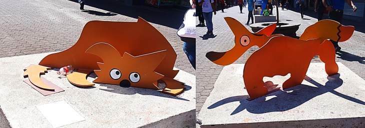 orange dogs statues in san jose