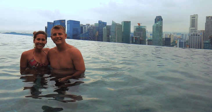 Mitch and I at Marina Bay Sands Infinity Pool