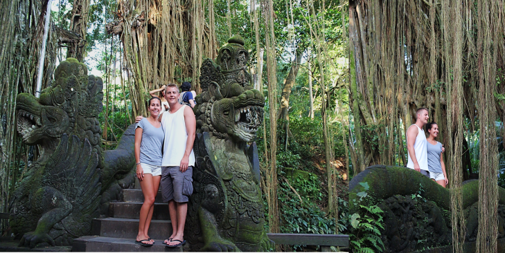 Us on Ubud Monkey Forest Bridge