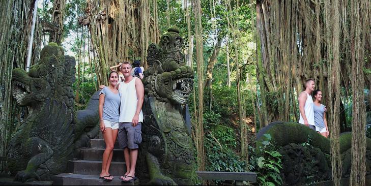 Us on Ubud Monkey Forest Bridge