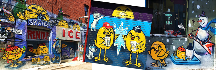 chicken graffiti in graffiti alley