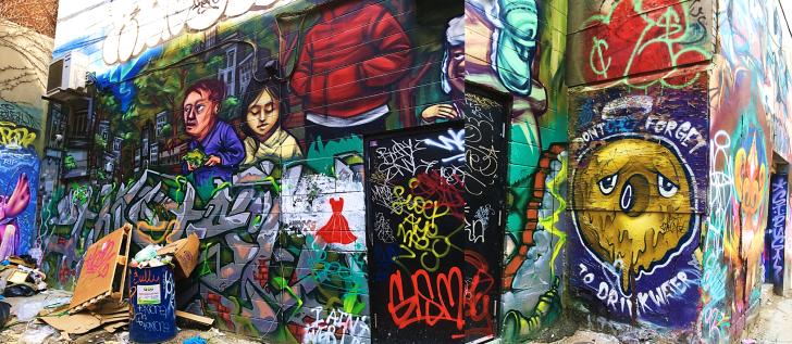 Graffiti Alley trash.