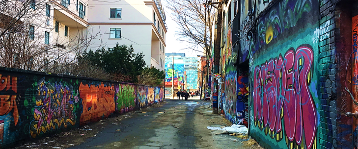 view in graffiti alley toronto