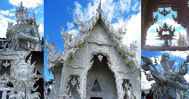 white temple statues chiant mai