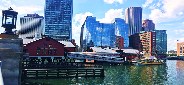 boston ships and museums at harbor