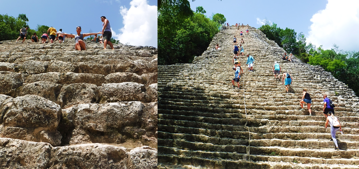 climbing to the top of Coba Pyramid