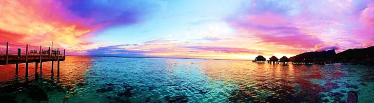 moorea sunrise over the ocean