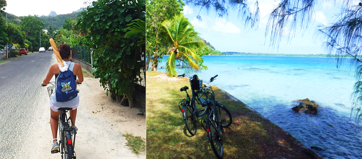 biking with bread around bora bora