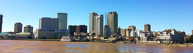 new orleans skyline from the mississippi river