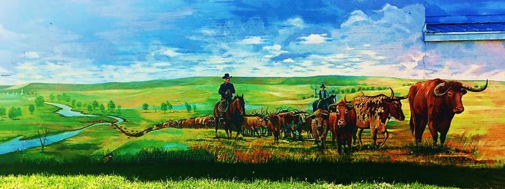 bossman cow square mural in lemmon