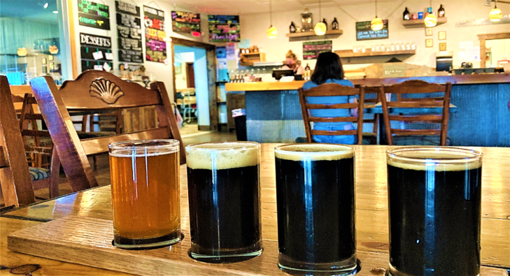 beer flight at backslope brewing