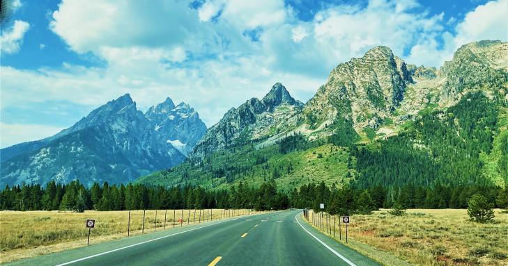 driving through grand teton national park