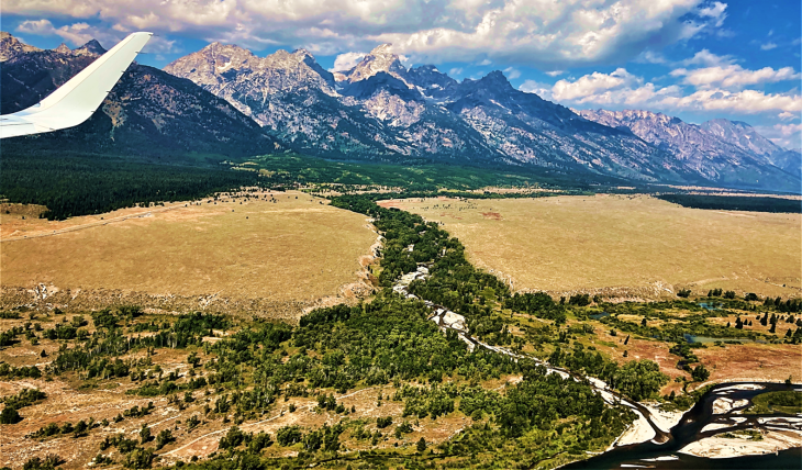 view flying into jackson hole