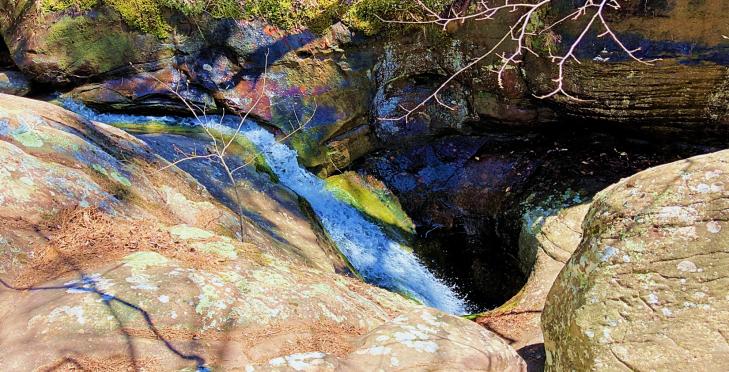 above the glory hole waterfall