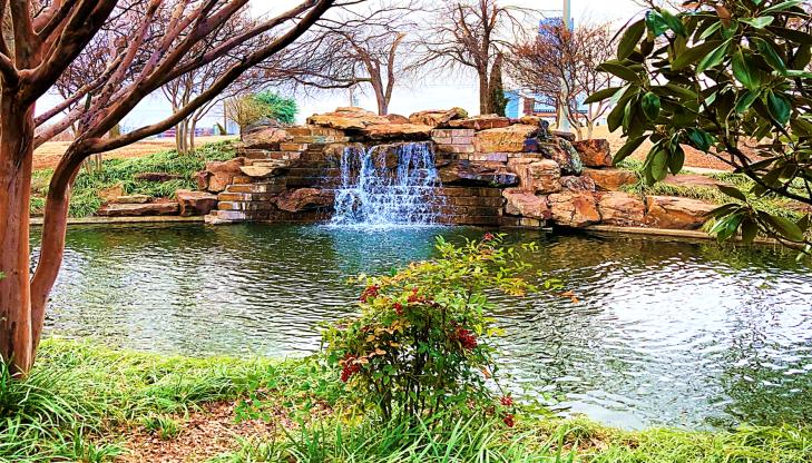 waterfall along bricktown